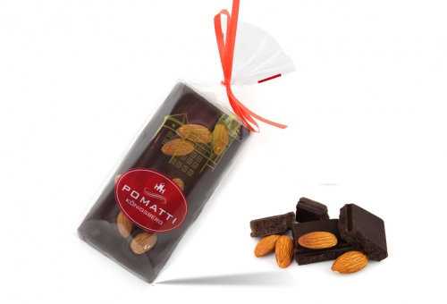 Marzipan in dark chocolate with almonds