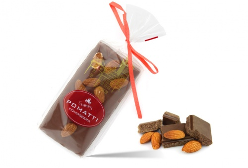 Marzipan in milk chocolate with almonds