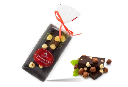 Marzipan in dark chocolate with hazelnuts